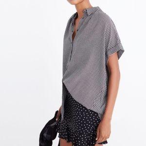 Madewell Black & White Haden Plaid Central Shirt